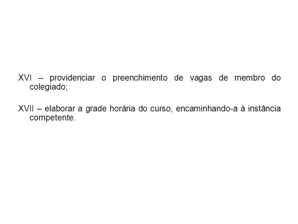 XVI – providenciar o preenchimento de vagas de membro do colegiado;