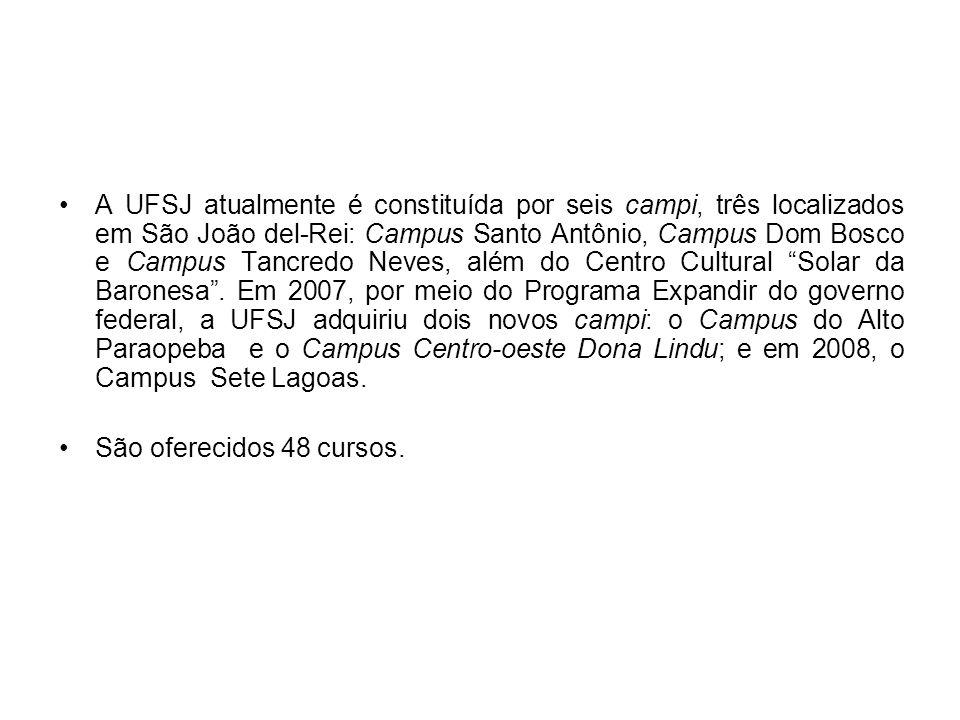 A UFSJ atualmente é constituída por seis campi, três localizados em São João del-Rei: Campus Santo Antônio, Campus Dom Bosco e Campus Tancredo Neves, além do Centro Cultural Solar da Baronesa . Em 2007, por meio do Programa Expandir do governo federal, a UFSJ adquiriu dois novos campi: o Campus do Alto Paraopeba e o Campus Centro-oeste Dona Lindu; e em 2008, o Campus Sete Lagoas.