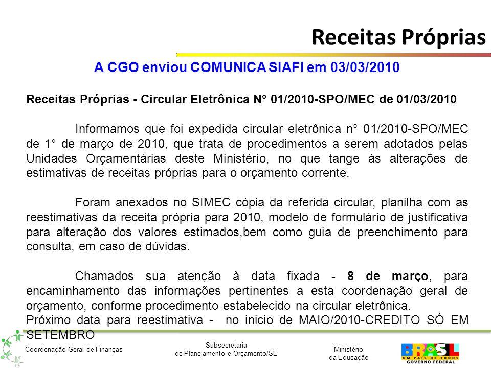 A CGO enviou COMUNICA SIAFI em 03/03/2010