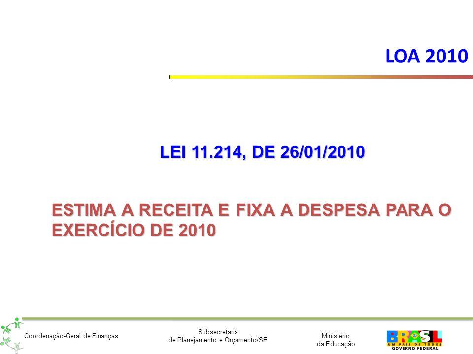 LOA 2010 LEI 11.214, DE 26/01/2010 ESTIMA A RECEITA E FIXA A DESPESA PARA O EXERCÍCIO DE 2010
