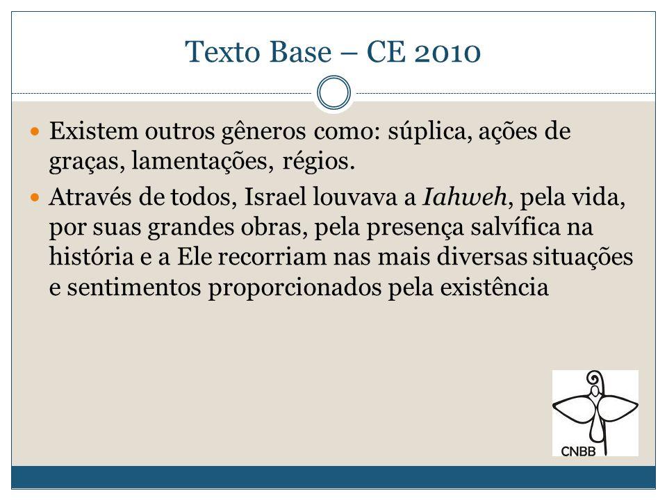 Texto Base – CE 2010Existem outros gêneros como: súplica, ações de graças, lamentações, régios.