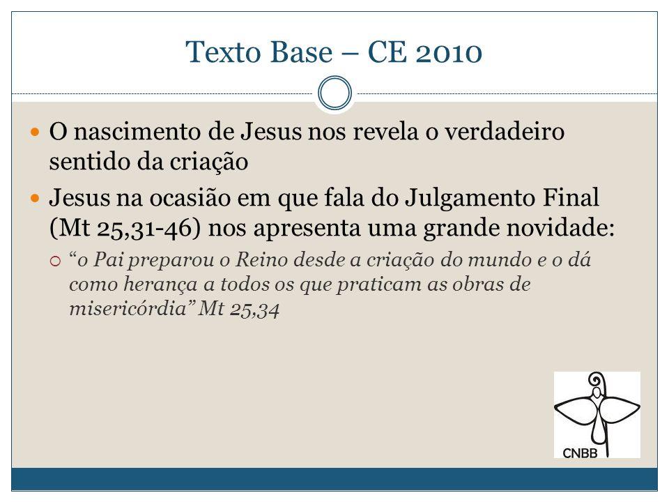 Texto Base – CE 2010O nascimento de Jesus nos revela o verdadeiro sentido da criação.