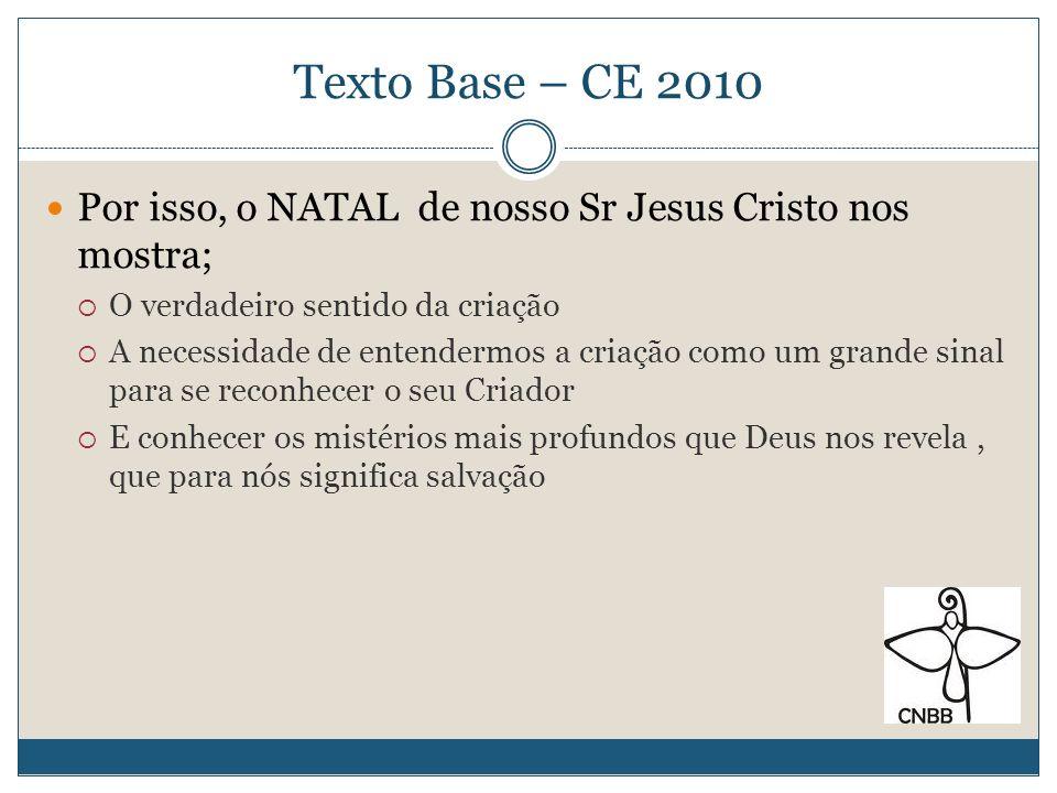 Texto Base – CE 2010Por isso, o NATAL de nosso Sr Jesus Cristo nos mostra; O verdadeiro sentido da criação.