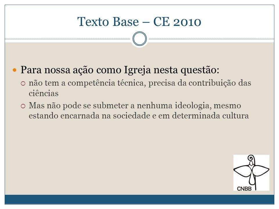Texto Base – CE 2010 Para nossa ação como Igreja nesta questão: