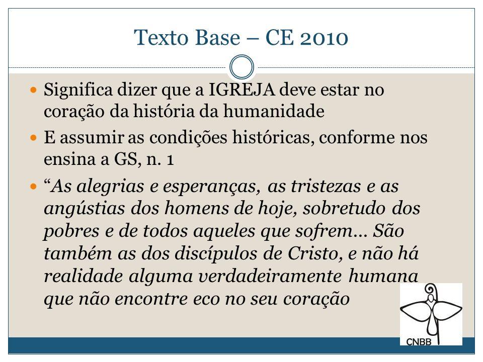 Texto Base – CE 2010 Significa dizer que a IGREJA deve estar no coração da história da humanidade.