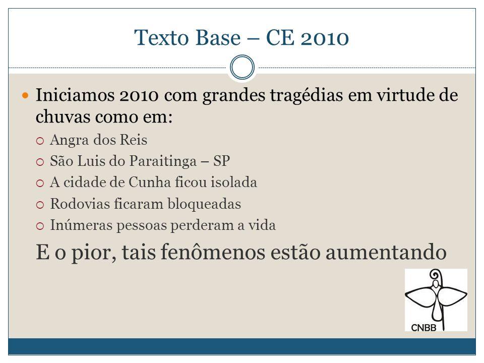 Texto Base – CE 2010 E o pior, tais fenômenos estão aumentando
