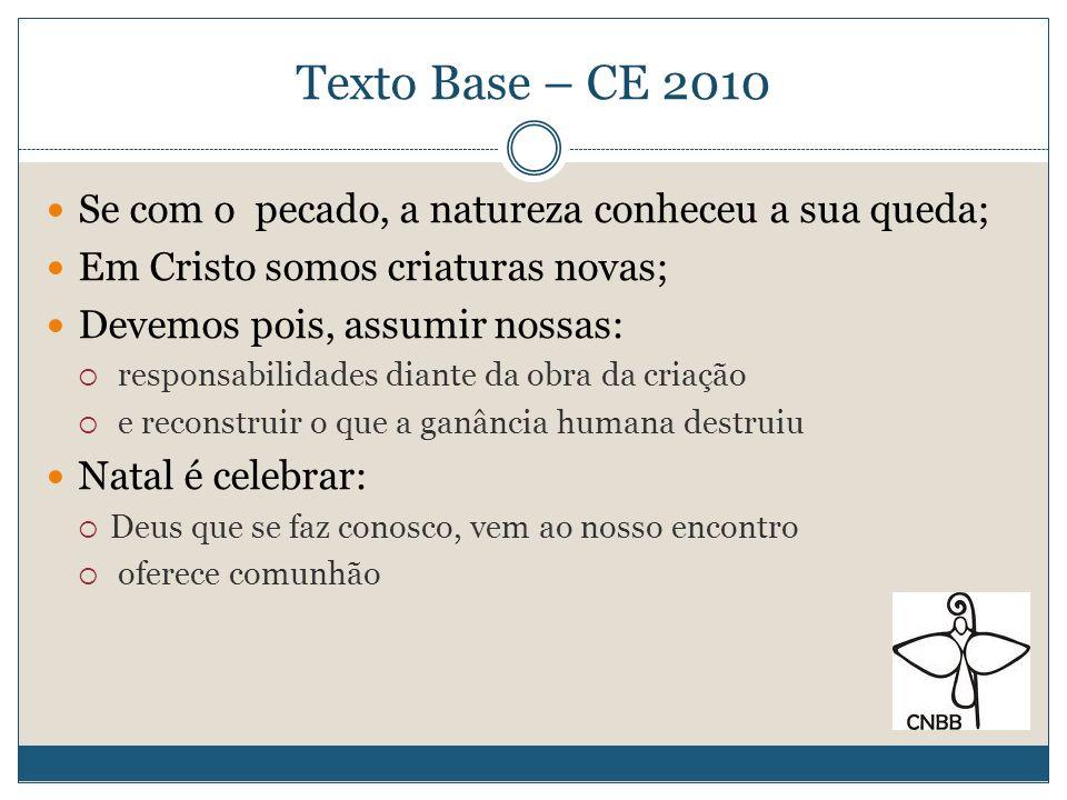 Texto Base – CE 2010 Se com o pecado, a natureza conheceu a sua queda;