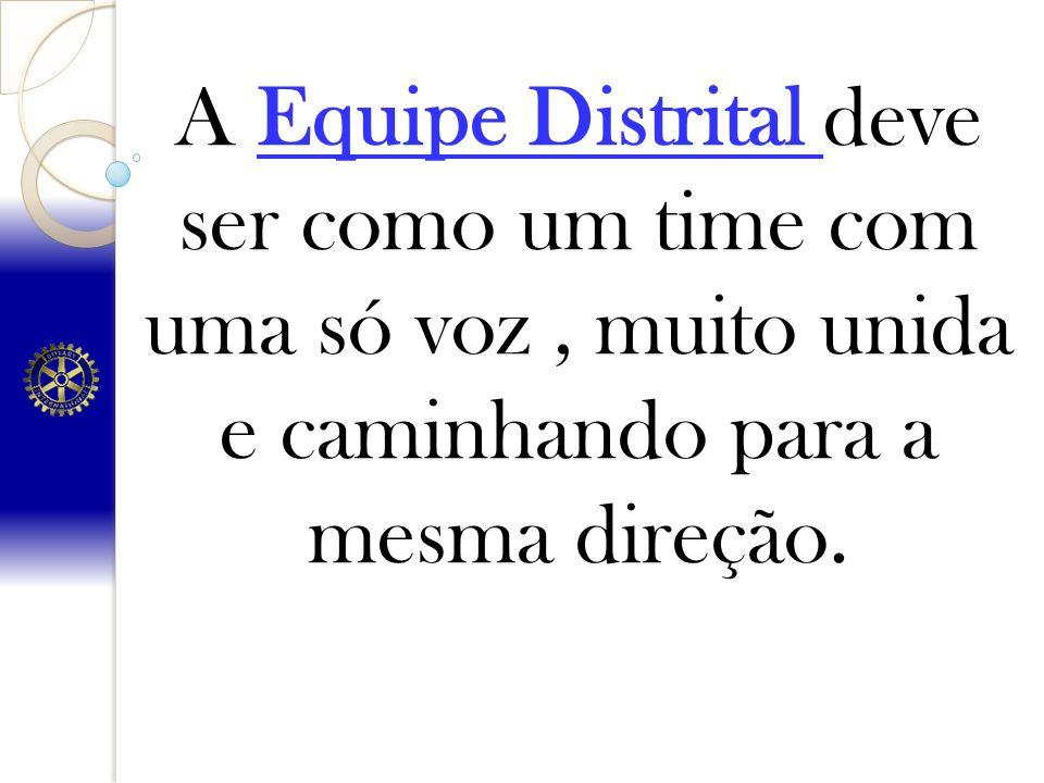 A Equipe Distrital deve ser como um time com uma só voz , muito unida e caminhando para a mesma direção.