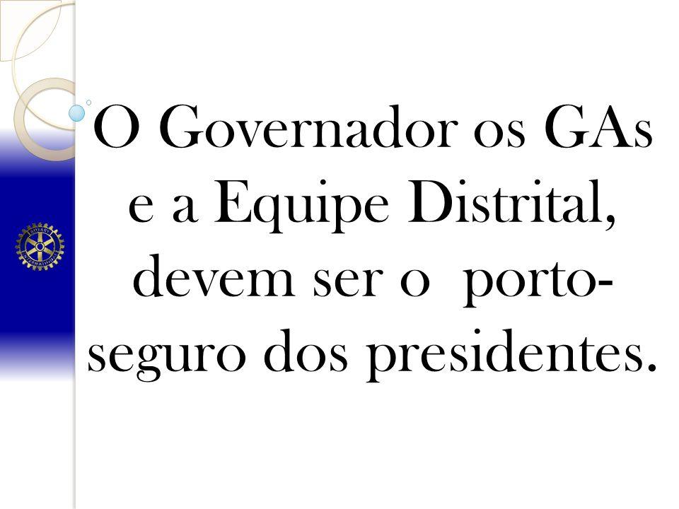 O Governador os GAs e a Equipe Distrital, devem ser o porto-seguro dos presidentes.
