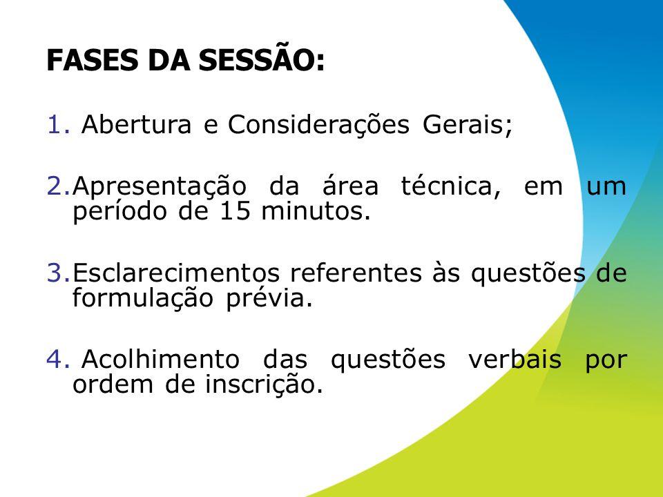 FASES DA SESSÃO: Abertura e Considerações Gerais;