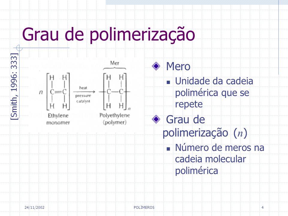 Grau de polimerização Mero Grau de polimerização (n)