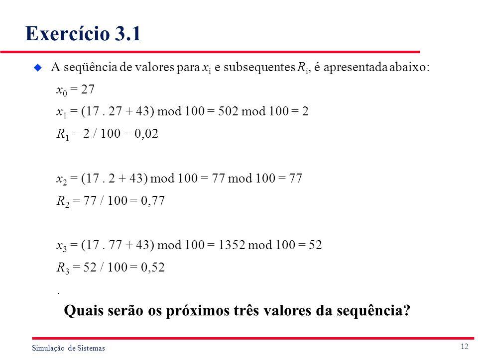 Exercício 3.1 Quais serão os próximos três valores da sequência