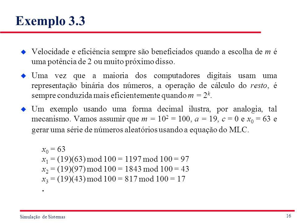 Exemplo 3.3 Velocidade e eficiência sempre são beneficiados quando a escolha de m é uma potência de 2 ou muito próximo disso.