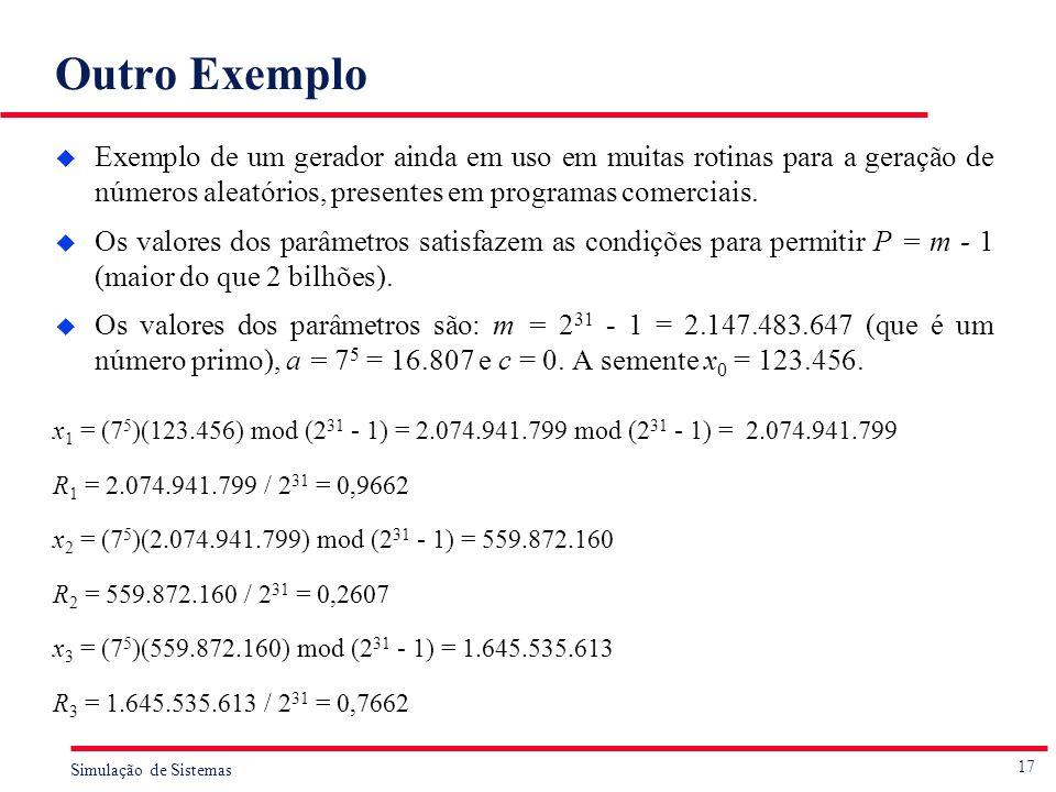 Outro Exemplo Exemplo de um gerador ainda em uso em muitas rotinas para a geração de números aleatórios, presentes em programas comerciais.