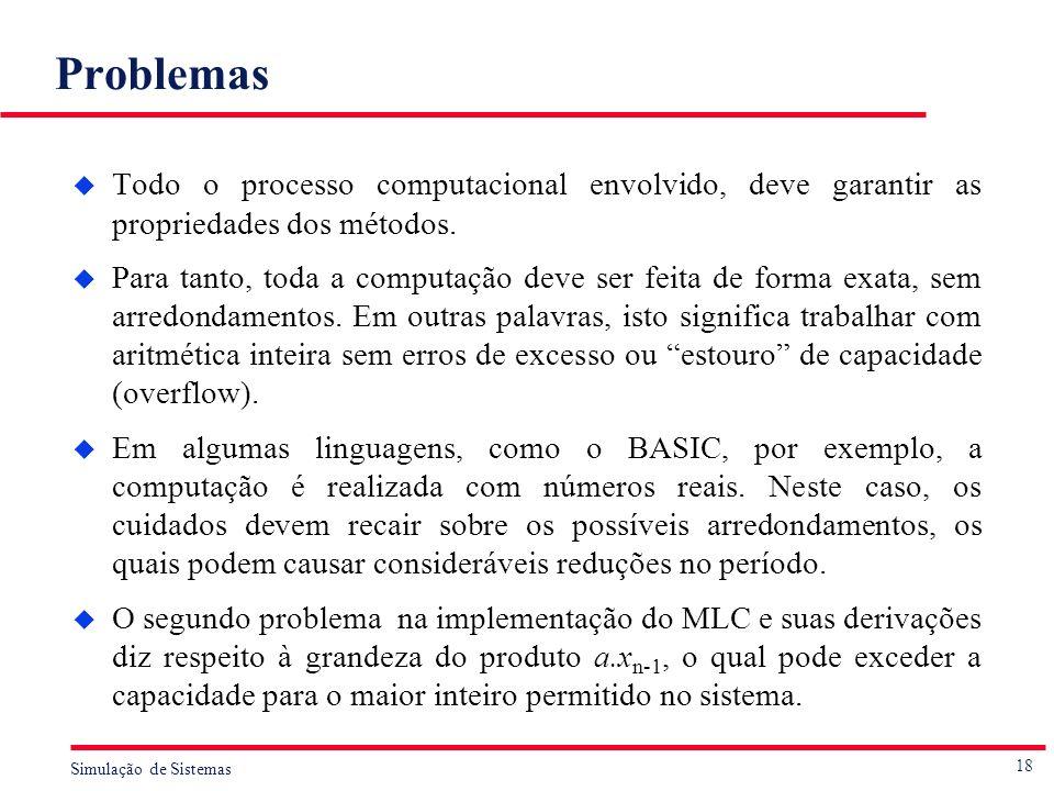 Problemas Todo o processo computacional envolvido, deve garantir as propriedades dos métodos.