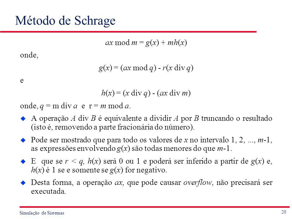 Método de Schrage ax mod m = g(x) + mh(x) onde,