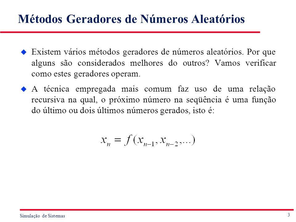 Métodos Geradores de Números Aleatórios