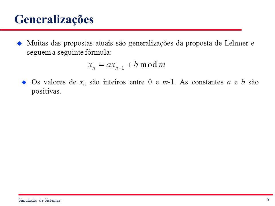 Generalizações Muitas das propostas atuais são generalizações da proposta de Lehmer e seguem a seguinte fórmula: