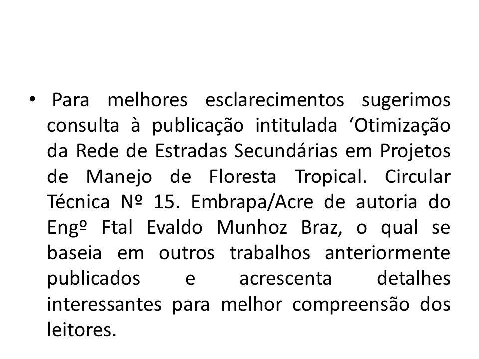 Para melhores esclarecimentos sugerimos consulta à publicação intitulada 'Otimização da Rede de Estradas Secundárias em Projetos de Manejo de Floresta Tropical.