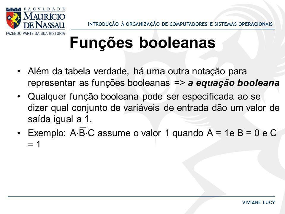 Funções booleanas Além da tabela verdade, há uma outra notação para representar as funções booleanas => a equação booleana.