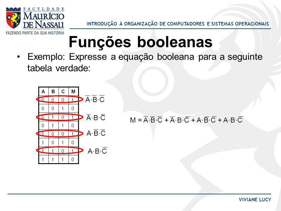 Funções booleanas Exemplo: Expresse a equação booleana para a seguinte tabela verdade: A. B. C. M.