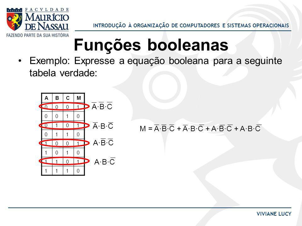 Funções booleanasExemplo: Expresse a equação booleana para a seguinte tabela verdade: A. B. C. M. 1.