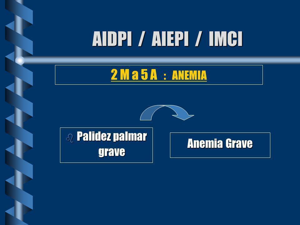 AIDPI / AIEPI / IMCI 2 M a 5 A : ANEMIA Palidez palmar grave