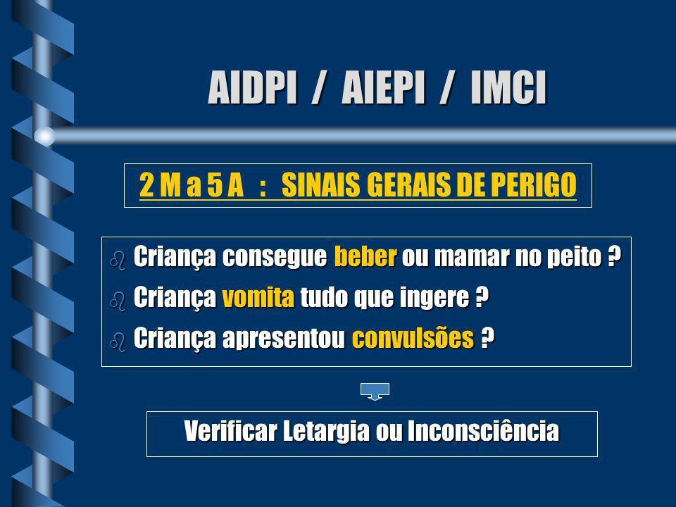 AIDPI / AIEPI / IMCI 2 M a 5 A : SINAIS GERAIS DE PERIGO