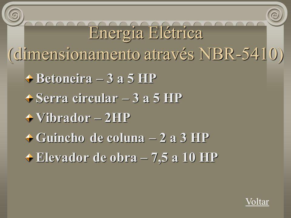 Energia Elétrica (dimensionamento através NBR-5410)