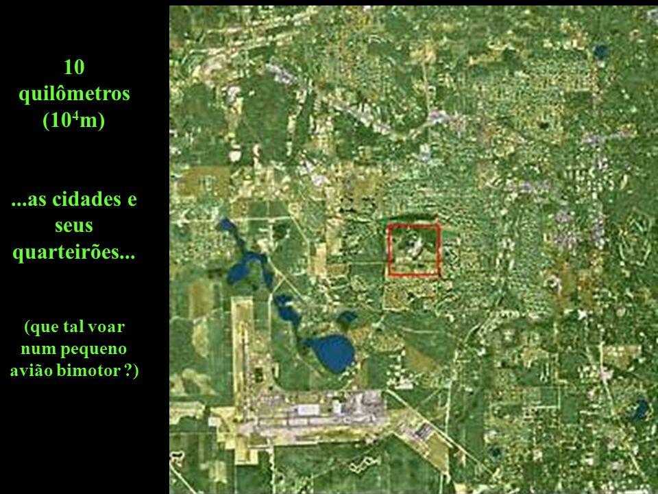 10 quilômetros (104m) ...as cidades e seus quarteirões...
