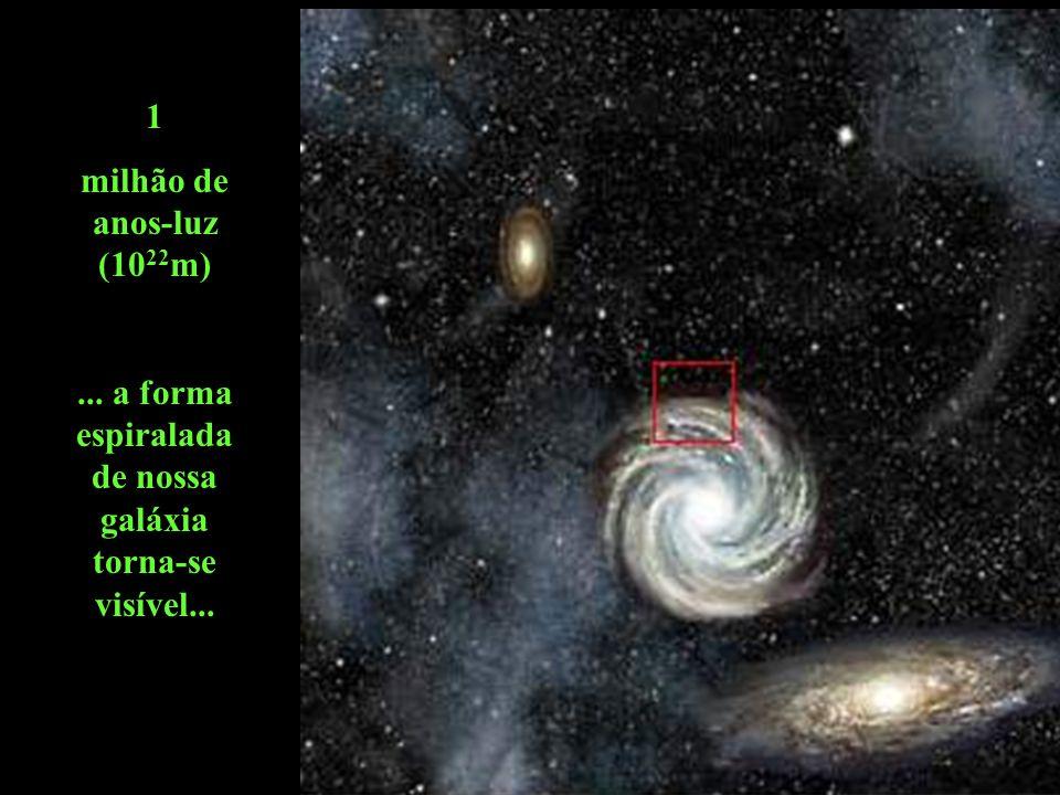 ... a forma espiraladade nossa galáxia torna-se visível...
