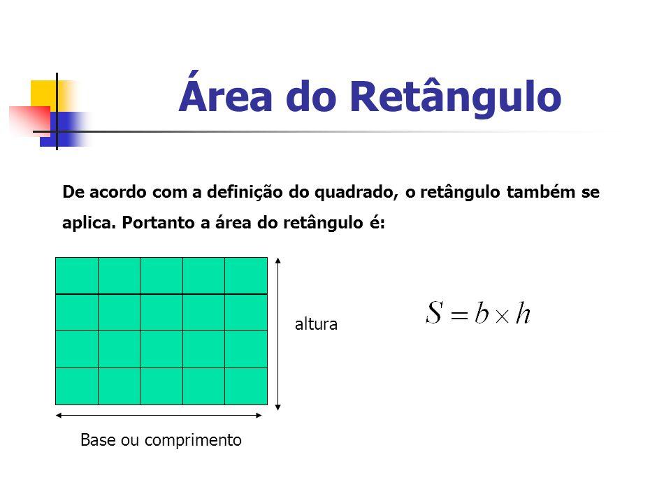 Área do Retângulo De acordo com a definição do quadrado, o retângulo também se aplica. Portanto a área do retângulo é: