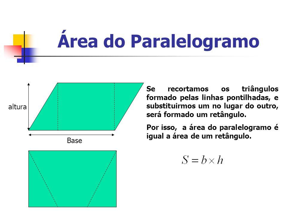 Área do Paralelogramo Se recortamos os triângulos formado pelas linhas pontilhadas, e substituirmos um no lugar do outro, será formado um retângulo.