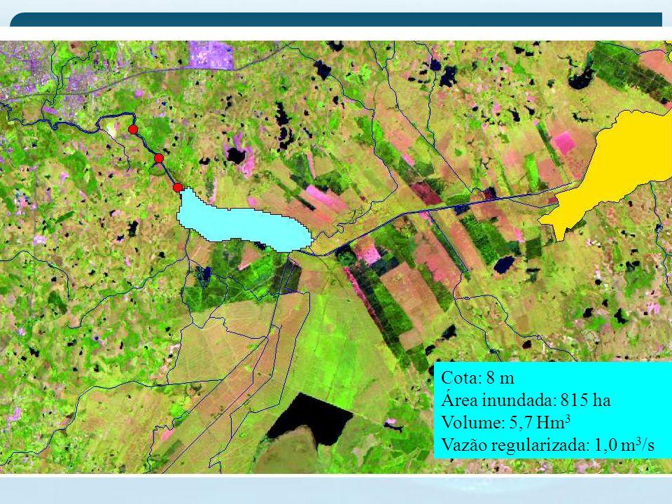 Cota: 8 m Área inundada: 815 ha Volume: 5,7 Hm3 Vazão regularizada: 1,0 m3/s