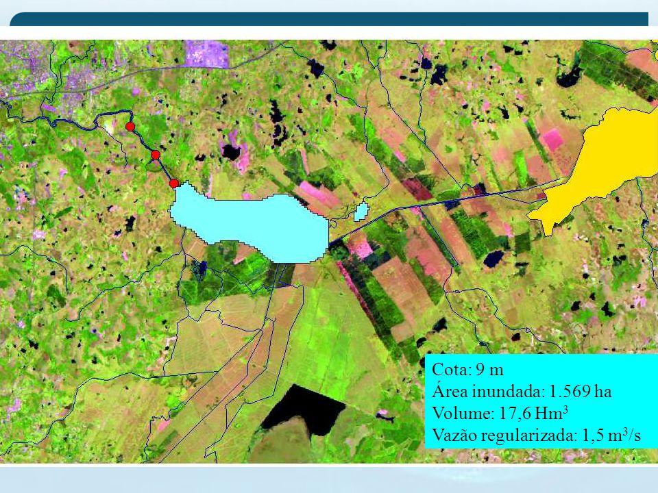 Cota: 9 m Área inundada: 1.569 ha Volume: 17,6 Hm3 Vazão regularizada: 1,5 m3/s
