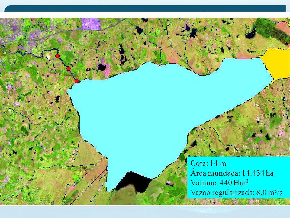 Cota: 14 m Área inundada: 14.434 ha Volume: 440 Hm3 Vazão regularizada: 8,0 m3/s