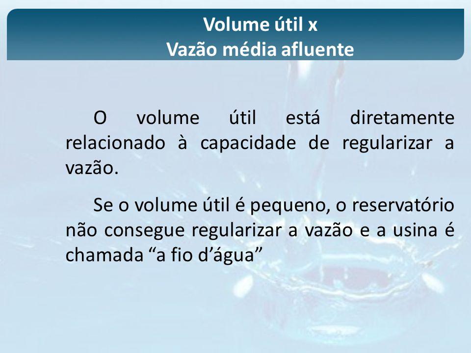 Volume útil x Vazão média afluente. O volume útil está diretamente relacionado à capacidade de regularizar a vazão.
