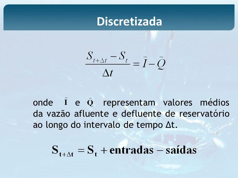 Discretizadaonde e representam valores médios da vazão afluente e defluente de reservatório ao longo do intervalo de tempo ∆t.