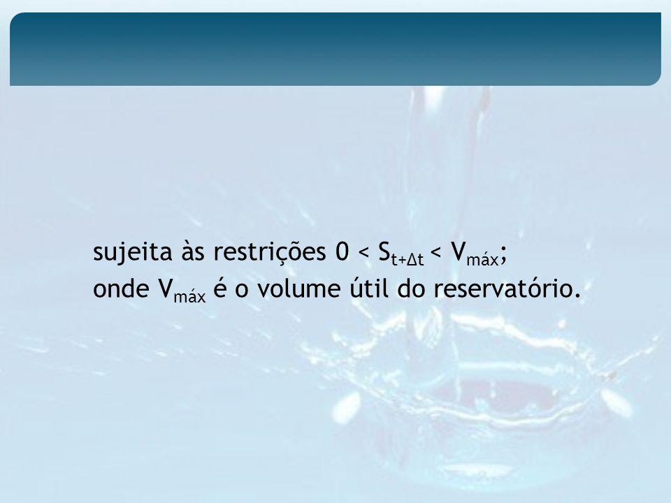 sujeita às restrições 0 < St+∆t < Vmáx;