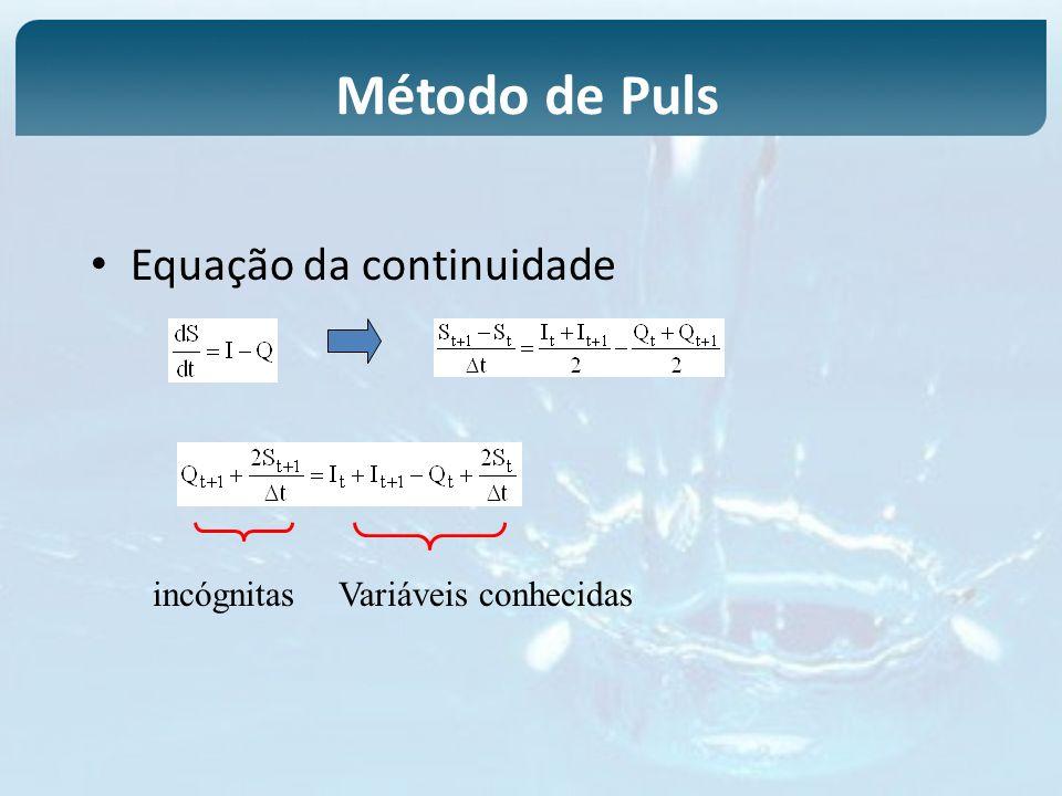 Método de Puls Equação da continuidade incógnitas Variáveis conhecidas
