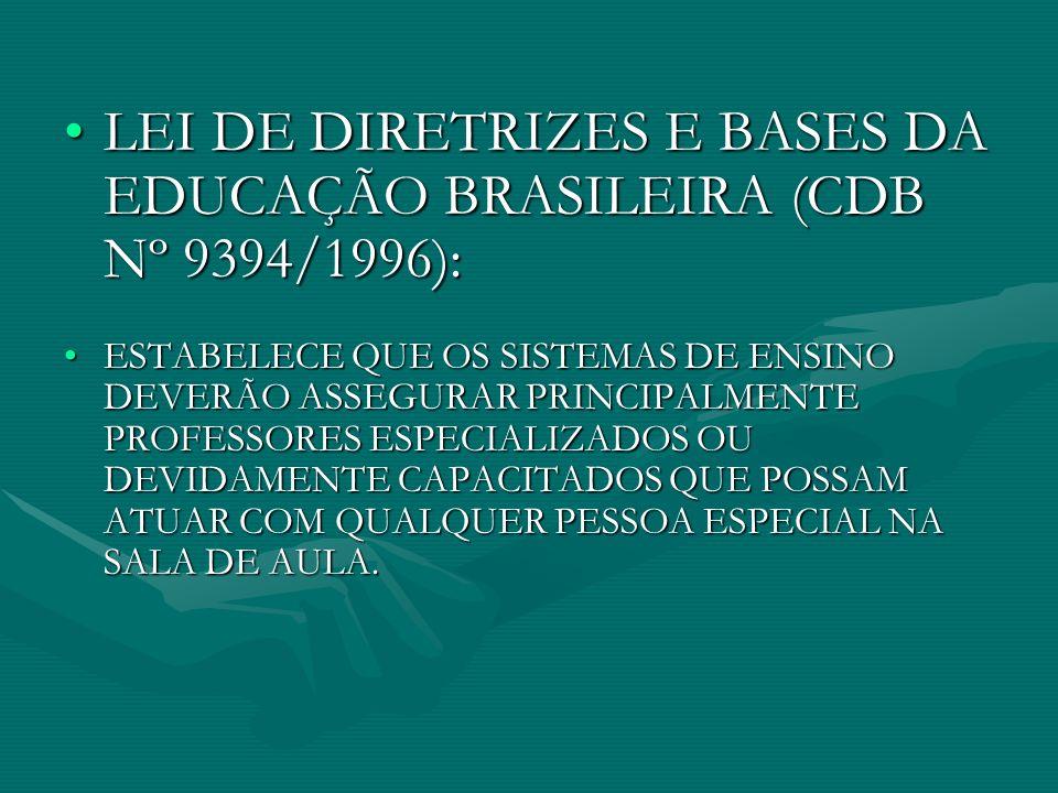 LEI DE DIRETRIZES E BASES DA EDUCAÇÃO BRASILEIRA (CDB Nº 9394/1996):