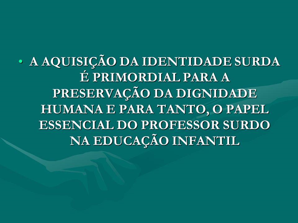 A AQUISIÇÃO DA IDENTIDADE SURDA É PRIMORDIAL PARA A PRESERVAÇÃO DA DIGNIDADE HUMANA E PARA TANTO, O PAPEL ESSENCIAL DO PROFESSOR SURDO NA EDUCAÇÃO INFANTIL