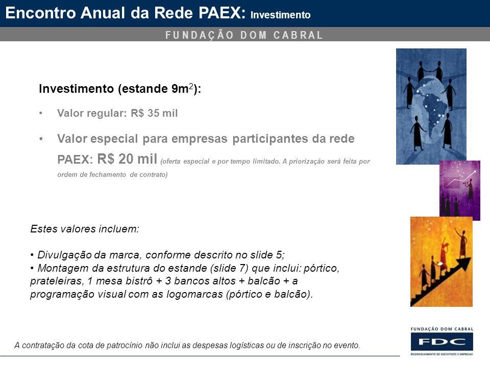 Encontro Anual da Rede PAEX: Investimento