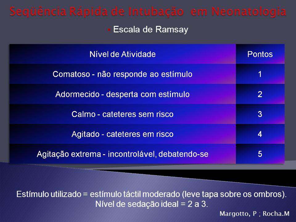 Escala de Ramsay Estímulo utilizado = estímulo táctil moderado (leve tapa sobre os ombros). Nível de sedação ideal = 2 a 3.