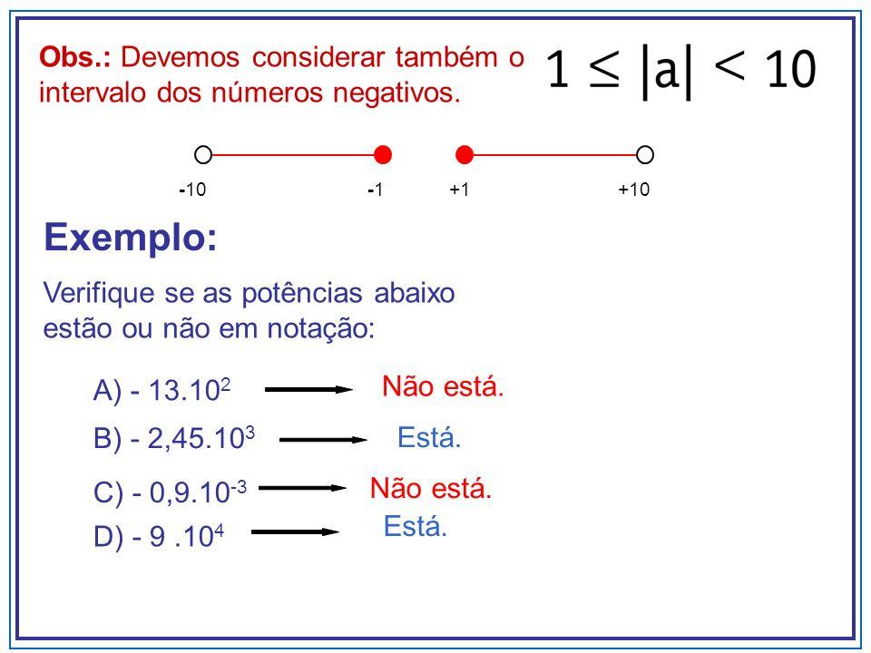 Obs.: Devemos considerar também o intervalo dos números negativos.