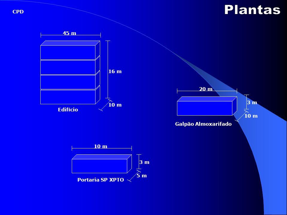 Plantas CPD 45 m 16 m 20 m 3 m 10 m Edifício 10 m Galpão Almoxarifado