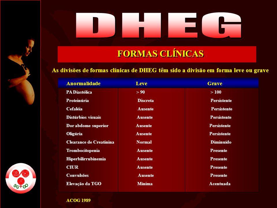 DHEG FORMAS CLÍNICAS. As divisões de formas clínicas de DHEG têm sido a divisão em forma leve ou grave.