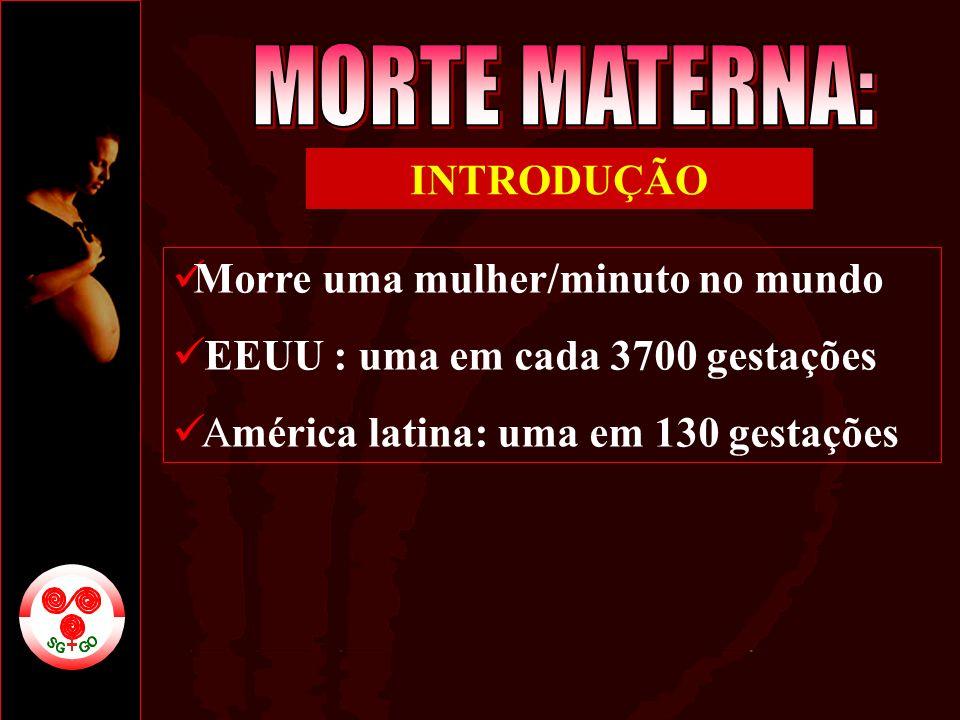 MORTE MATERNA: INTRODUÇÃO Morre uma mulher/minuto no mundo
