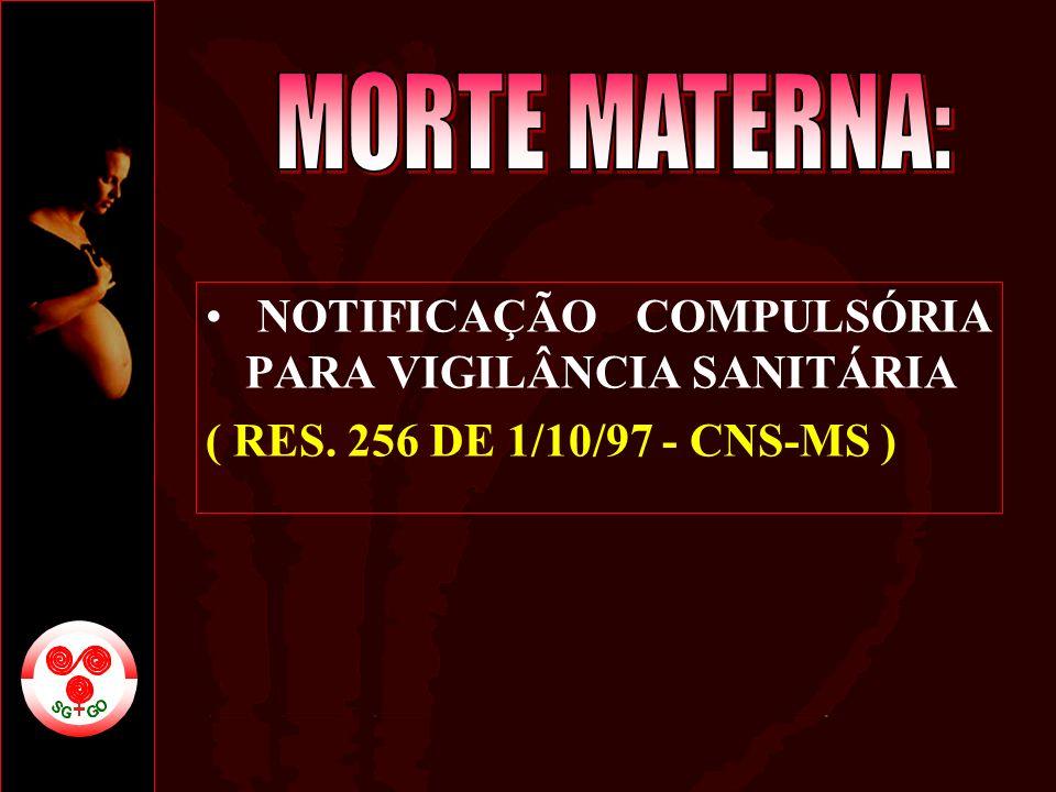 MORTE MATERNA: NOTIFICAÇÃO COMPULSÓRIA PARA VIGILÂNCIA SANITÁRIA