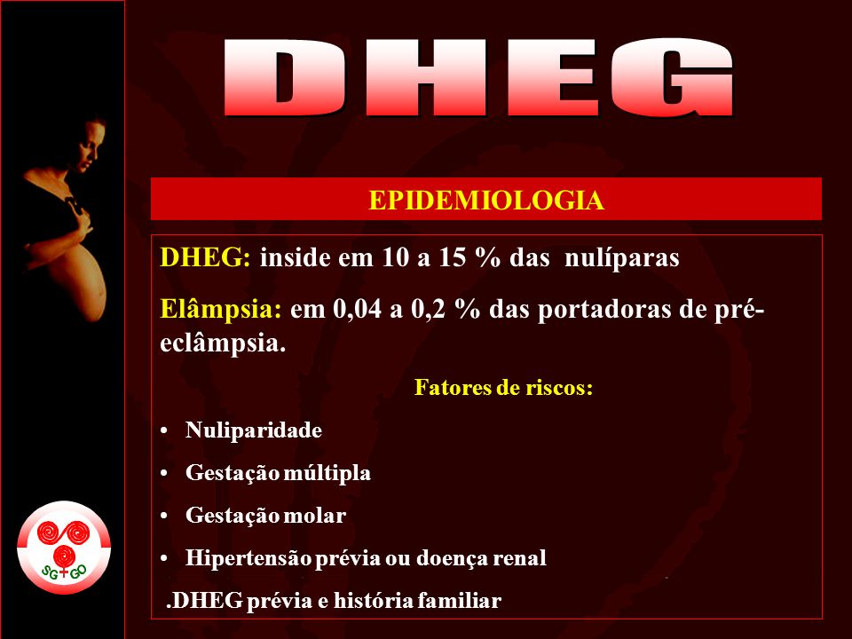 DHEG EPIDEMIOLOGIA DHEG: inside em 10 a 15 % das nulíparas